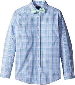Long Sleeve J&J Plaid with Tie (Big Kids)