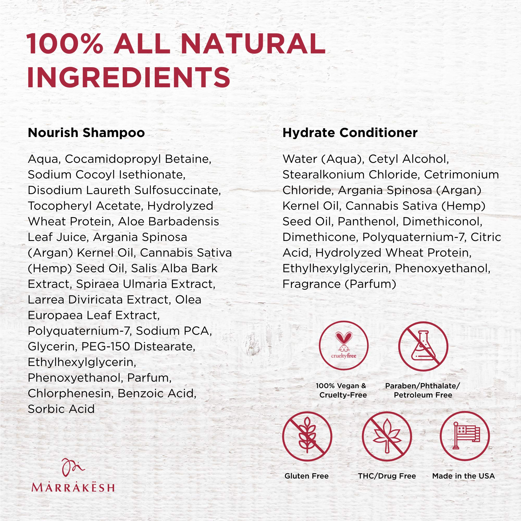 Marrakesh Nourish Shampoo + Hydrate Conditioner, Original Scent - 25 fl. oz. - Morrocan Argan Oil, Hemp Seed Oil - Clean & Moisturize Hair for a Silky, Shiny Look - Vegan, Cruelty Free