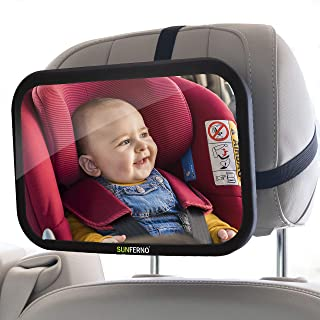 Sunferno Baby Car Mirror | Shatterproof, No Assembly Required, Adjustable | Rear Facing Car Seat Mirror for Effortlessly M...