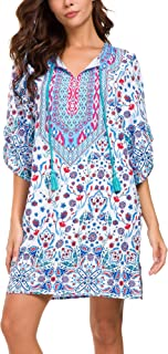 Women Bohemian Print V Neck Casual Dress Ethnic Style Summer Tunic Top