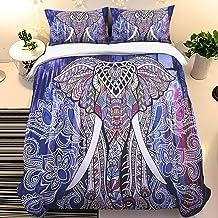 مجموعة غطاء لحاف الفيل حجم الملك الهندي الأزرق غطاء لحاف مجموعة الحيوان ستوكات 3D السرير مع 2 غطاء وسادة ماندالا 3 قطع مجم...