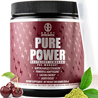 Pre Workout, Best All Natural Keto PreWorkout Supplement. PURE POWER, Healthy Pump, Clean, Vegan, Paleo, Thermogenic Pre Work Out Powder for Men & Women, Weight Loss & Energy - 390g Raspberry Lemonade