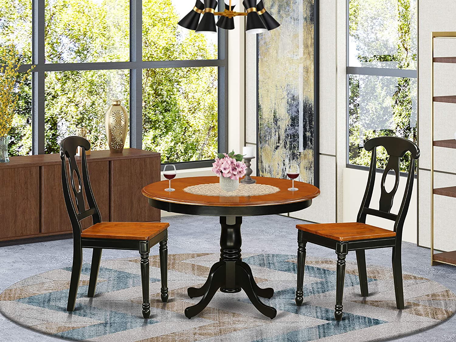 9 Pc set with a Round Small Table and 9 Wood Dinette in Black and Cherry .