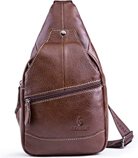 Genuine Leather Shoulder Sling Backpack Bag Unisex Outdoor Crossbody Sling Pack Sport Daypack