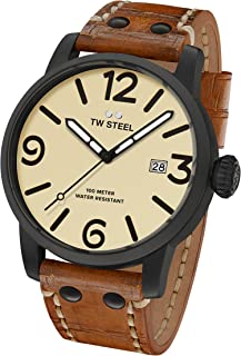 TW Steel Men's Maverick Stainless Steel Quartz Watch with Leather Calfskin Strap, Brown, 0.87 (Model: MS42)