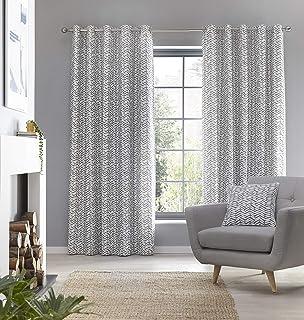 "Fusion Loft-100 Pair of Eyelet Curtains, 100% Cotton, Grey, 90"" Width x 72"" Drop (229 x 183cm)"
