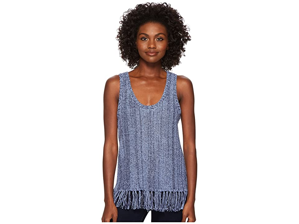 Three Dots Sleeveless Fringe Sweater (Marble Blue) Women
