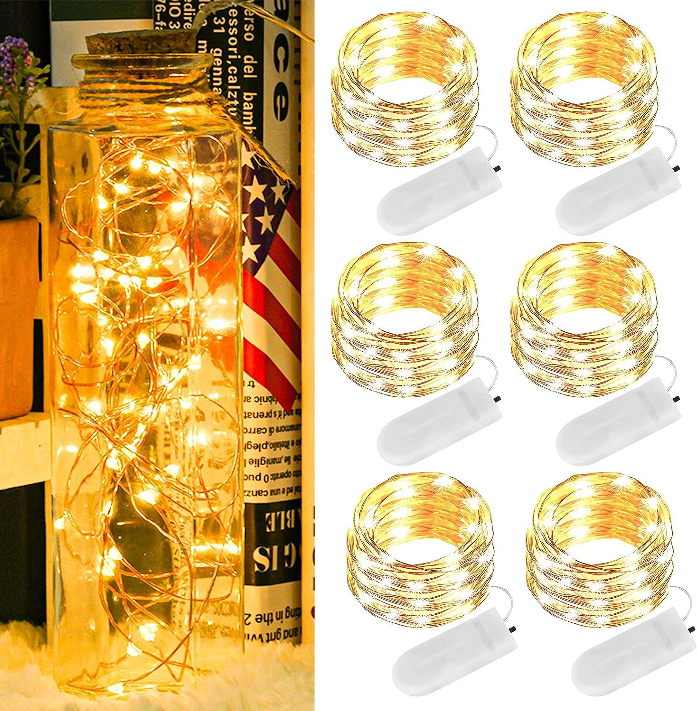 Guirnalda Luces Pilas LED, 2M 20 LEDs Cadena de Luces con Pilas, Alambre de Cobre Guirnaldas Luces, IP67 Impermeable Luces de Cadena, Luces de Hadas para Decoración, Navidad, Boda, Fiesta, Jardín