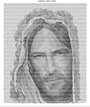 Jesus Christ Art Print. Word Art Using The Gospel of Luke to Create The Image of Jesus in 18x24. Religious Canvas Art Depicting Jesus Christ Using The Words of The Bible Themselves.