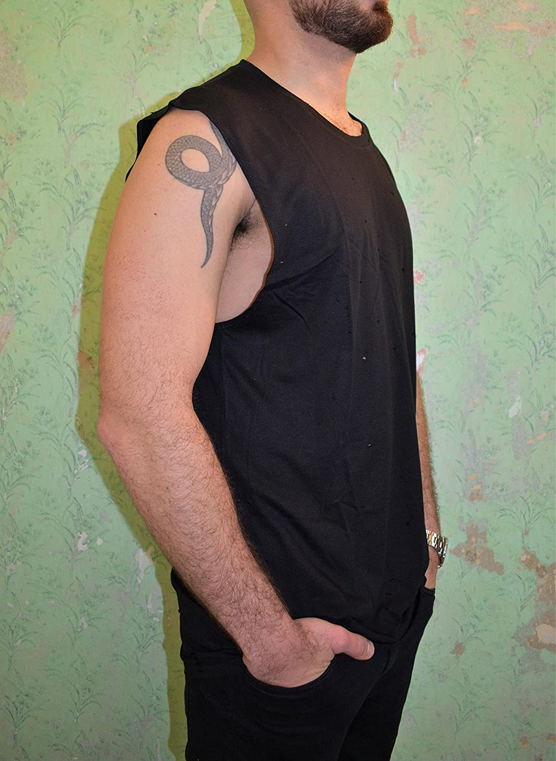 Men's Black Very popular specialty shop Tank Top Sleeveless Shirt Size Loose Tr L Wide Fit