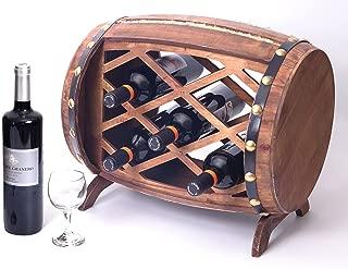 Vintiquewise QI003341 Rustic Wooden Barrel Shaped Rack, 5 Bottle Decorative Wine Holder