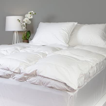 Allied Essentials Luxe 100% Cotton White Down Feather Mattress Bed Topper,  White,  Queen