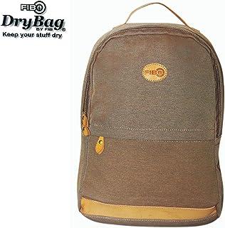 FIB Water Resistant Backpack Canvas Dry Bag w Laptop Pocket & Bottle Holder - Sand