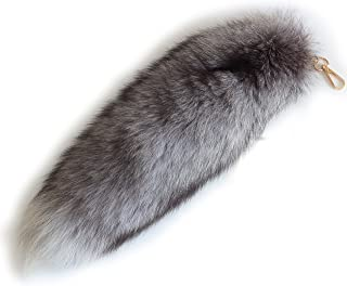 Chunxiao Super Huge Fluffy 43cm Silver Blue Fox Tail Fur Handbag Accessories Key Chain Ring Hook Tassels Natural Color Cospaly Toy