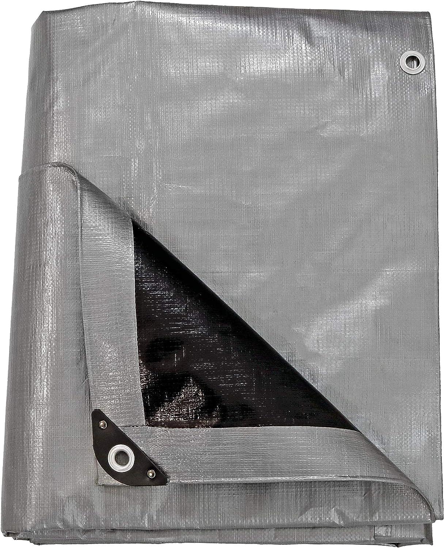 Sunnydaze 9 x 12-Foot Tarp Outdoor Gray Nashville-Davidson Mall Heavy-Duty Cheap mail order shopping Multi-Purpose