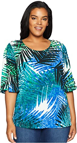 Plus Size Printed Flutter Sleeve w/ Buttons