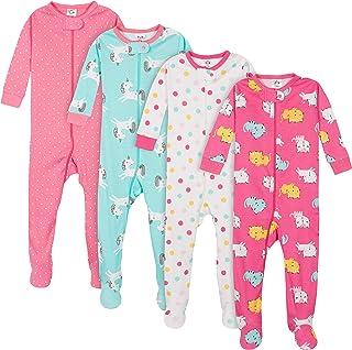 Gerber Baby Girls' 4-Pack Footed Pajamas