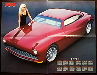 Fold-Out Magazine Poster: 1994 C K Spurlock's 1949 Mercury Merrodder Croozer and CadZZila, with Model Stacy Rucker, from Hot Rod Magazine 15 X 20 inches