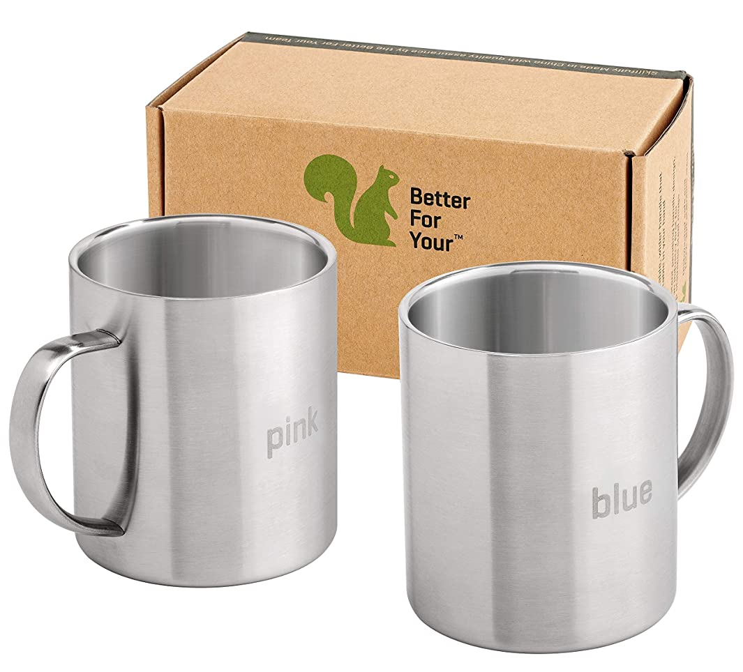 Stainless Steel Coffee Mugs - Premium Wider Handle 'BLUE' & 'PINK' Laser Engraved Coffee Cups - Perfect for the Home Camping RV 13.5 oz Shatterproof Dishwasher Safe (Set of 2)