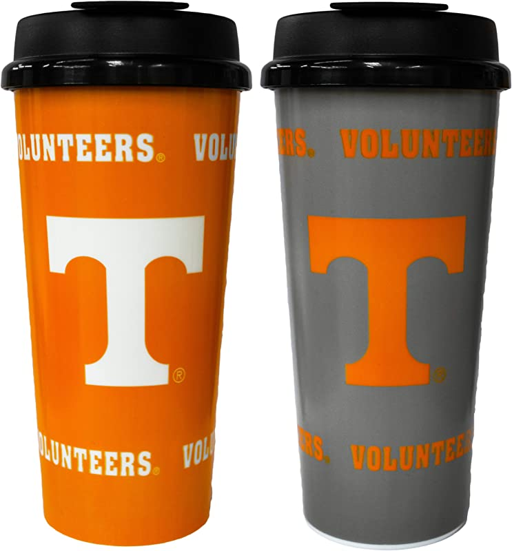 GameDay Novelty NCAA Tennessee Volunteers Insulated Travel Tumbler With No Spill Flip Lid 16 Oz 2 Pack