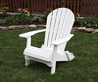 Ecommersify Inc Bright White-Poly Lumber Folding Adirondack Chair with Rolled Seating Heavy Duty Everlasting Lifetime PolyTuf HDPE - Made in USA - Amish Crafted