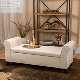 Christopher Knight Home Beige Fabric Armed Storage Ottoman Bench