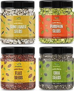 GreenFinity Raw Pumpkin - 250g, Sunflower - 250g, Flax - 300g, Chia Seeds - 300g | Immunity Combo | All Premium.