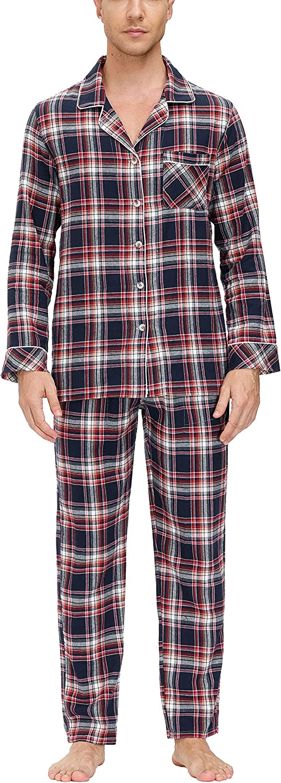 MoFiz Men's Pajamas Set Sleep Sets Pajama Plaid Sleepwear PJs Sets V-Neck Loungewear Woven Pajama Pants &Tops