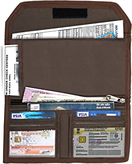 DAHSHA Two Wheeler/Car Document Holder, Vehicle Document Storage Wallet for Registration & Insurance Card– – Brown (25.5 x 12 cm)