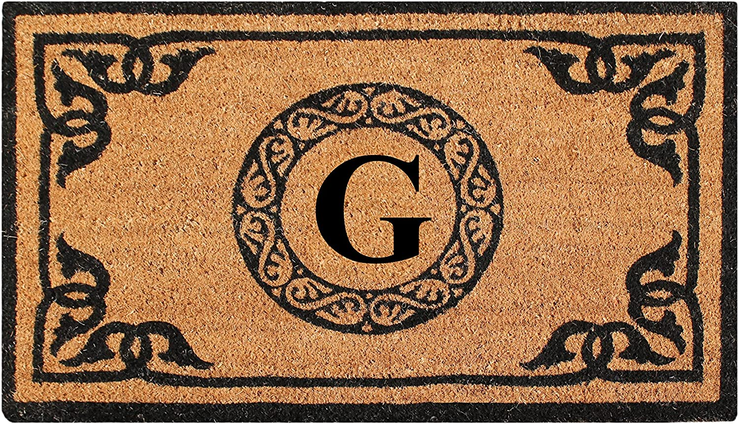 A1 HOME COLLECTIONS PT3006G First Impression Hand Crafted By Artisans Geneva Monogrammed Entry Doormat, 24 X39