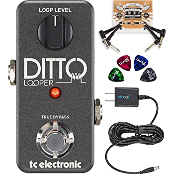 TC Electronic Ditto Looper Effects Pedal Bundled with Blucoil Slim 9V 670ma Power Supply AC Adapter, 2-Pack of Pedal Patch Cables, and 4-Pack of Celluloid Guitar Picks