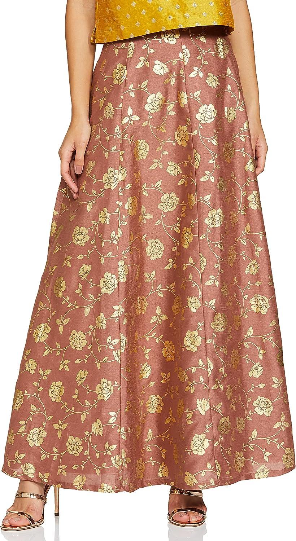 Indya Women's Silk Skirt Bottom (ISK00483_ Pink_ X-Large)