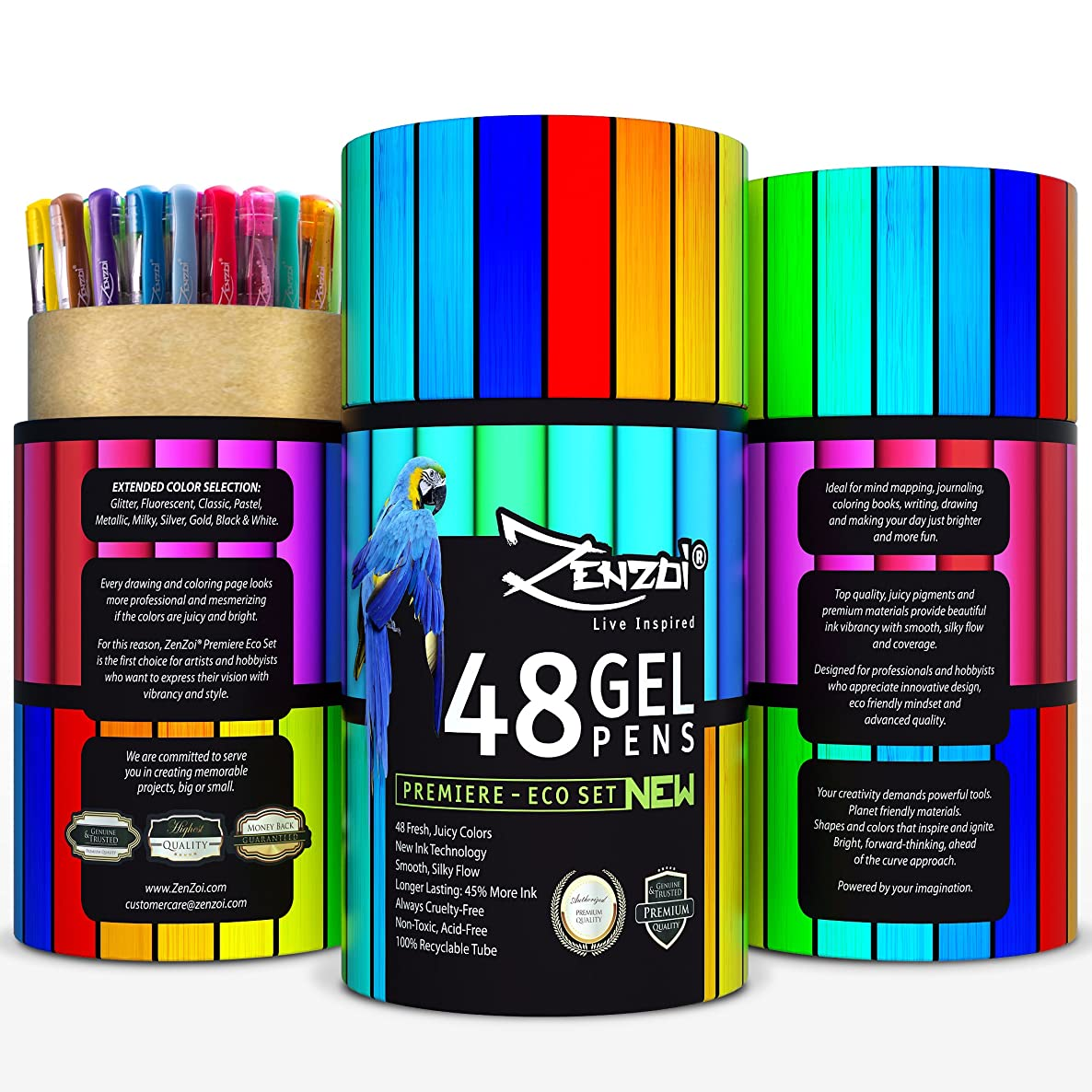 ZenZoi Gel Ink Pens Set – Quick Dry Non-Toxic Artist-Quality Assorted Colored Roller Pens - Ideal For Art Supplies, Adult Coloring Books, Sketching, Drawing - 48 Gorgeous Colors