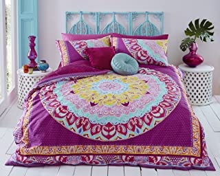 Sleepdown Paisley Mandala Pink Abstract Reversible Soft Duvet Cover Quilt Bedding Set With Pillowcases - Double (200cm x 200cm)