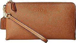 Pebbled Leather Double Zip Wallet