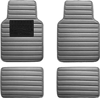 FH Group F12001GRAY Luxury Universal All-Season Heavy-Duty Faux Leather Car Floor Mats Stripe Design w. High Tech 3-D Anti-Skid/Slip Backing