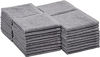 Amazon Basics 100% Cotton Terry Washcloths - Grey, 40-Pack