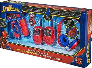 KIDdesigns Spiderman | Survival Kit. Volume Friendly Headphones, Push to Talk Walkie Talkies, Compass, Flashlight and Binoculars