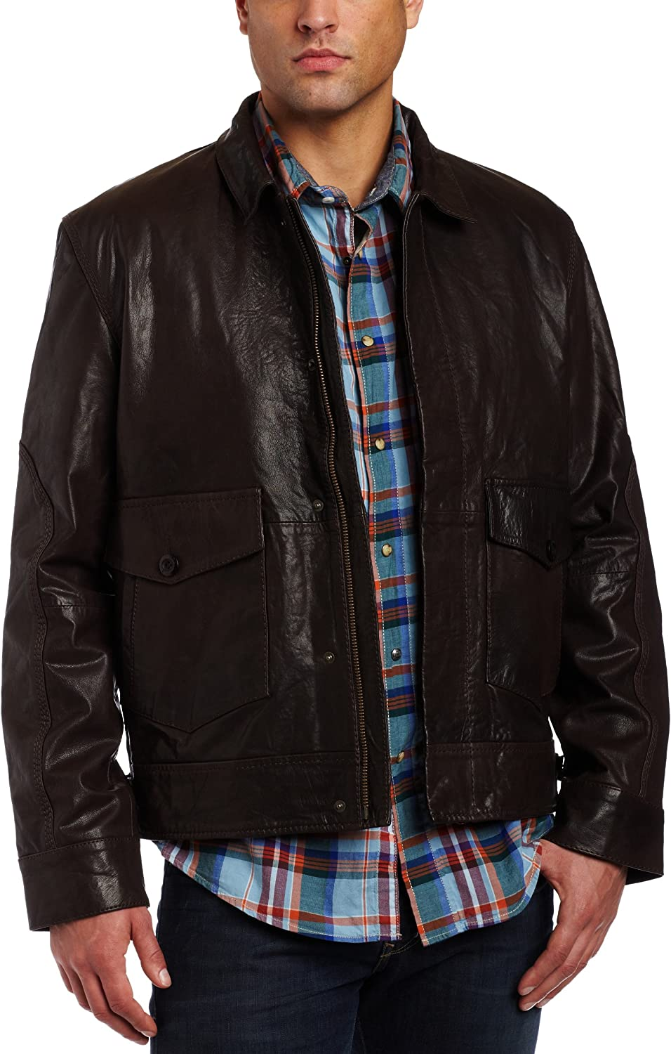 French Connection Men's Mustang Leather Bomber Jacket