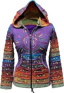 Shopoholic Fashion Women's Sun Patchwork Pixie Hippy Ribs Hoodie Faded Jacket