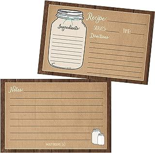 (Set of 50) Vintage Recipe Cards, Bridal shower Neighbor Christmas Holiday Gift Recipe Cards, 4x6 Blank Recipe Cards for Bridal Shower, Cute Recipe Cards 4 x 6, Bridal Shower Recipe Cards