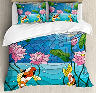 Lunarable Koi Fish Duvet Cover Set, Stained Glass with Details Mosaic Lotus Flowers Sun Fish Oriental Work, Decorative 3 Piece Bedding Set with 2 Pillow Shams, Queen Size, Blue