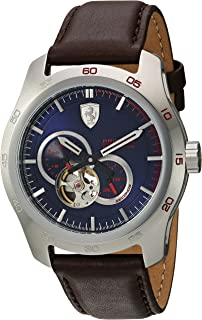 Ferrari Men's Primato Stainless Steel Japanese-Automatic Watch with Leather Calfskin Strap, Brown, 19 (Model: 0830443)