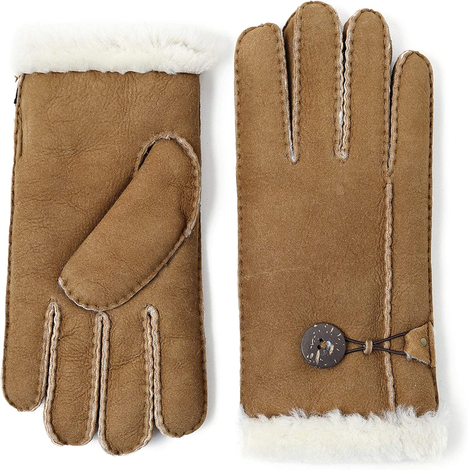 YISEVEN Women's Merino Rugged Lambskin Shearling Leather Gloves Button Decorated
