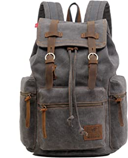 High Capacity Canvas Vintage Backpack - for School Hiking Travel 12-17