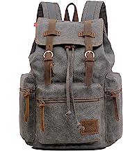 AUGUR Retro Segeltuch Rucksack, Canvas Vintage Rucksack Lederrucksack Herren Damen Laptop Daypack Schulrucksack Grau