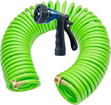 GREEN MOUNT Garden Coil Water Hose with Spray Nozzle