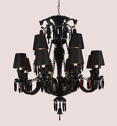 Lustre de Candelabro de Cristal Baccarat Preto 12 Lampadas Com Cúpula