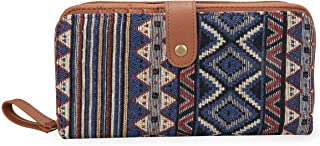 Wallet for Women Clutch Boho Fabric PU Leather Cellphone Card Money Organizer Ladies Handbags