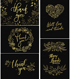 50 Thank You Cards with Envelopes - Matte Black with Gold Floral Script - Weddings Baby Showers Bridal Showers Graduation